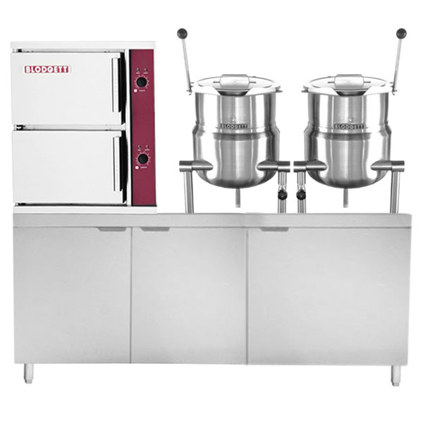 Blodgett SB-10E-6-6K 10 Pan Direct Steam Floor Steamer with (2) 6 Gallon Tilting Steam Jacketed Direct Steam Kettles and 128 lb. Electric Boiler Base - 240V, 3 Phase