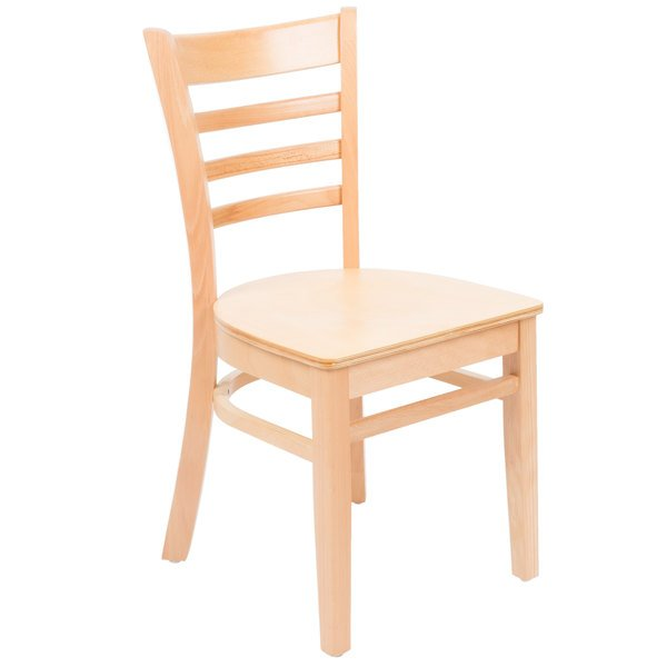 Preassembled Lancaster Table U0026 Seating Natural Finish Wooden Ladder Back  Cafe Chair