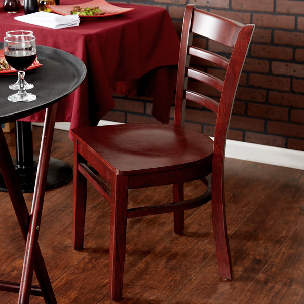 Preassembled Lancaster Table & Seating Mahogany Finish Wooden Ladder Back Cafe Chair