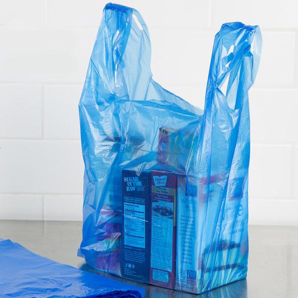 1/6 Size .51 Mil Blue Unprinted Embossed T-Shirt Bag - 1000/Case