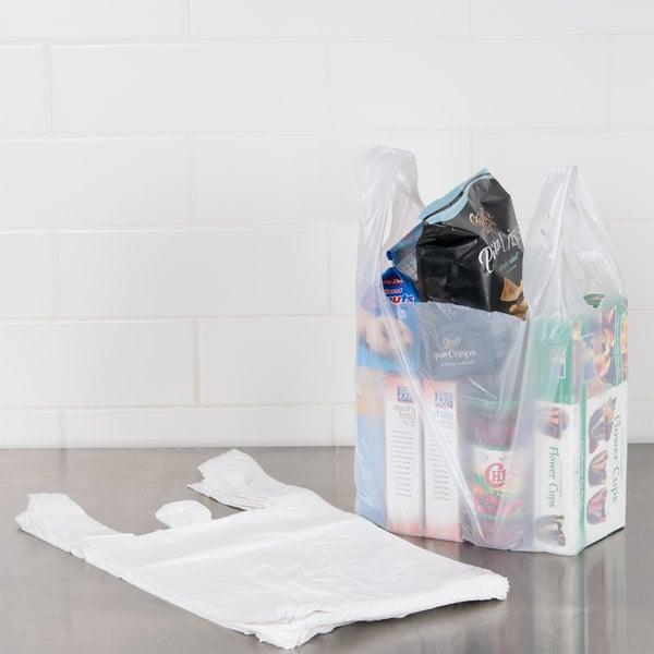 1/6 Size .59 Mil White Unprinted Plastic T-Shirt Bag - 1000/Case
