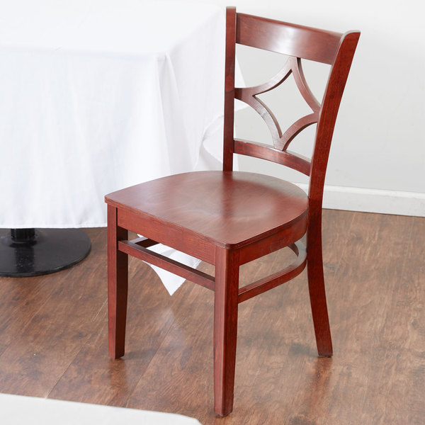 Preassembled Lancaster Table & Seating Mahogany Finish Wooden Diamond Back Cafe Chair