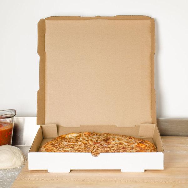 "18"" x 18"" x 1 3/4"" White Corrugated Plain Pizza / Bakery Box - 50/Bundle"