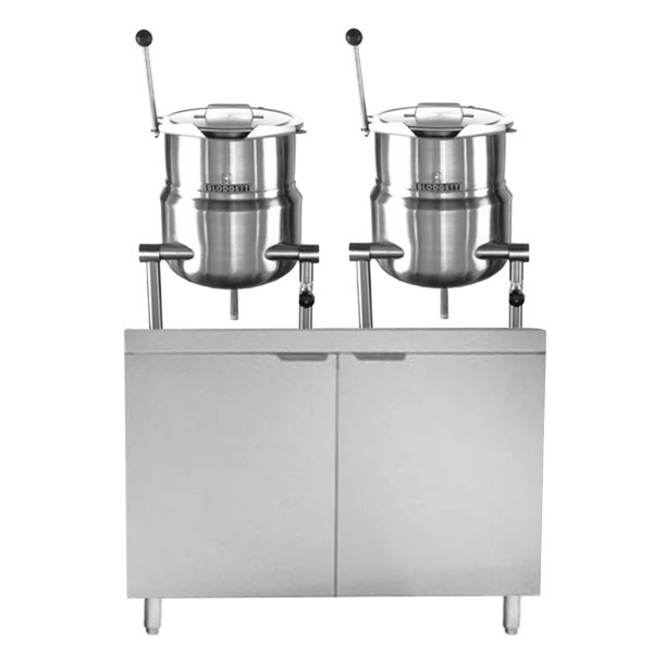 "Blodgett CB36D-6-6K (2) 6 Gallon Tilting Steam Jacketed Direct Steam Kettles with 36"" Cabinet Base"