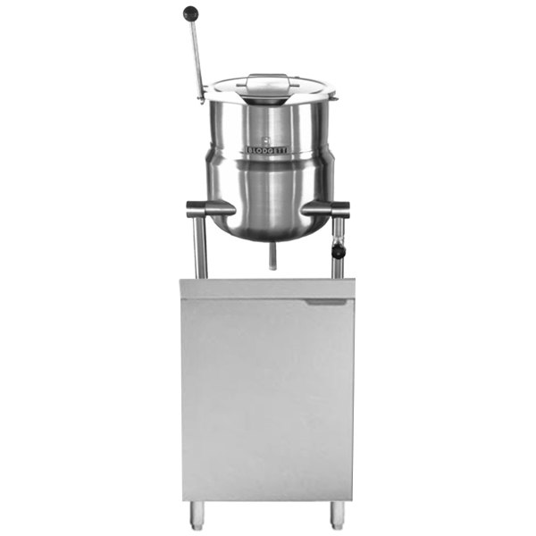 """Blodgett CB24D-10K 10 Gallon Tilting Steam Jacketed Direct Steam Kettle with 24"""" Cabinet Base Main Image 1"""