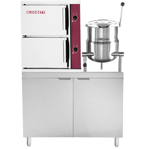 Blodgett SB-10G-6K Natural Gas 10 Pan Direct Steam Floor Steamer with 6 Gallon Tilting Steam Jacketed Direct Steam Kettle and 155 lb. Boiler Base