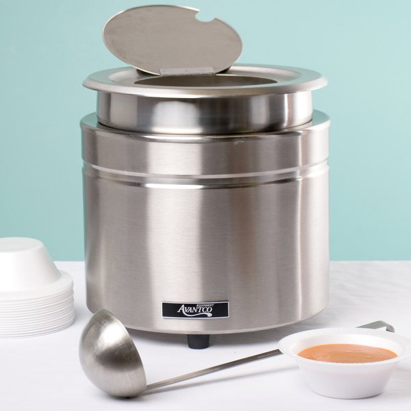 Avantco W800 11 Qt. Stainless Steel Round Countertop Food / Soup Kettle Warmer - 120V, 800W