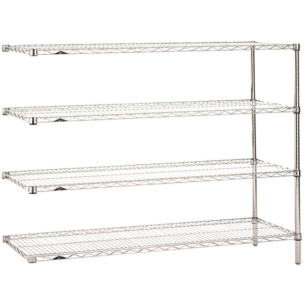 """Metro AN376C Super Erecta Adjustable Chrome Wire Stationary Add-On Shelving Unit - 18"""" x 72"""" x 63"""""""
