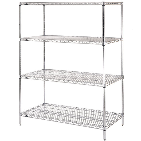 "Metro N316C Super Erecta Adjustable Chrome Wire Stationary Starter Shelving Unit - 18"" x 24"" x 63"""