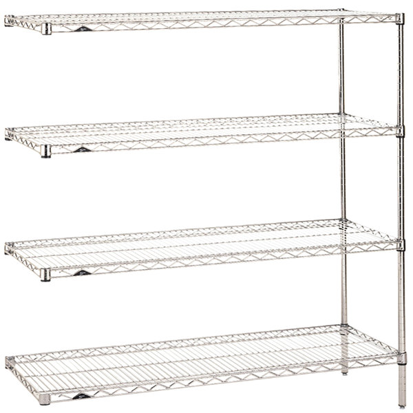 """Metro AN446C Super Erecta Adjustable Chrome Wire Stationary Add-On Shelving Unit - 21"""" x 42"""" x 63"""""""