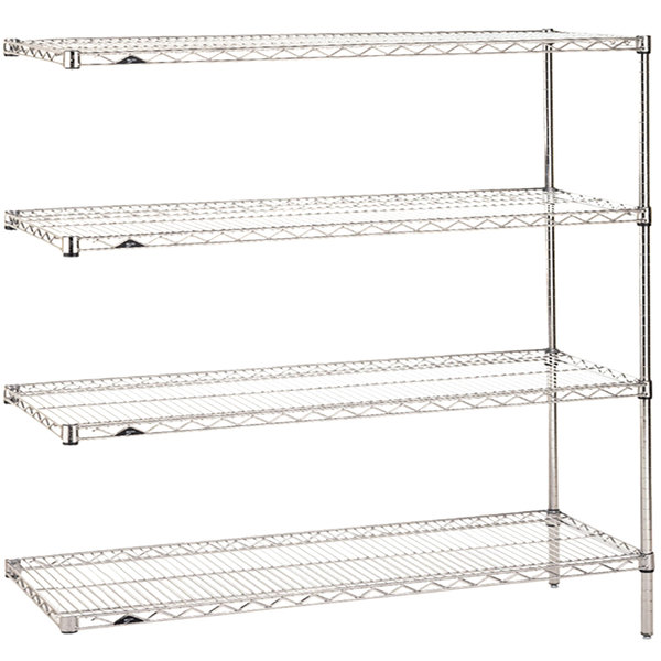 """Metro AN356C Super Erecta Adjustable Chrome Wire Stationary Add-On Shelving Unit - 18"""" x 48"""" x 63"""""""
