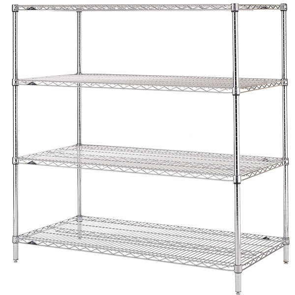 "Metro N356C Super Erecta Adjustable Chrome Wire Stationary Starter Shelving Unit - 18"" x 48"" x 63"""