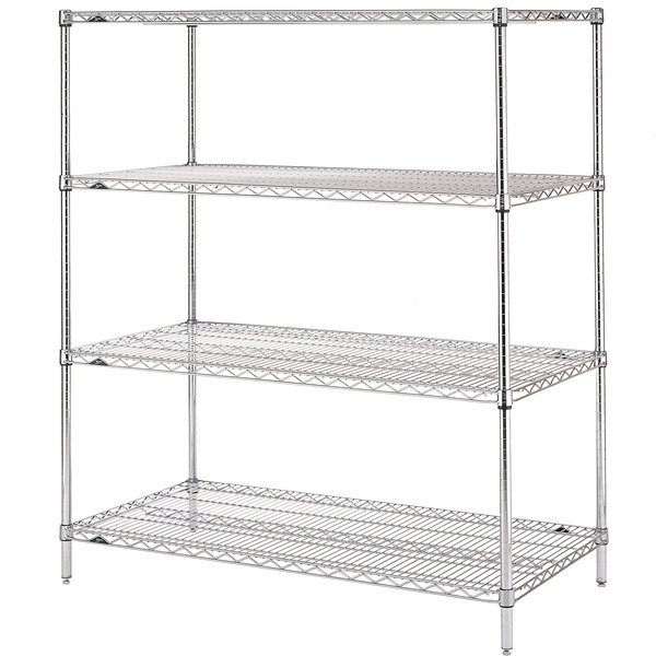 "Metro N436C Super Erecta Chrome Wire Stationary Starter Shelving Unit - 21"" x 36"" x 63"" Main Image 1"