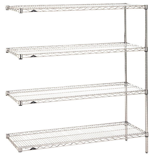 """Metro AN436C Super Erecta Adjustable Chrome Wire Stationary Add-On Shelving Unit - 21"""" x 36"""" x 63"""""""