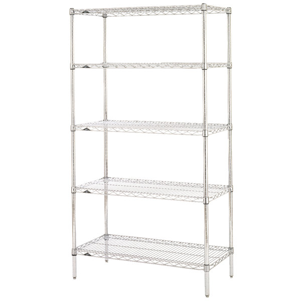 "Metro 5N437C Super Erecta Adjustable Chrome Wire Stationary Starter Shelving Unit - 21"" x 36"" x 74"""