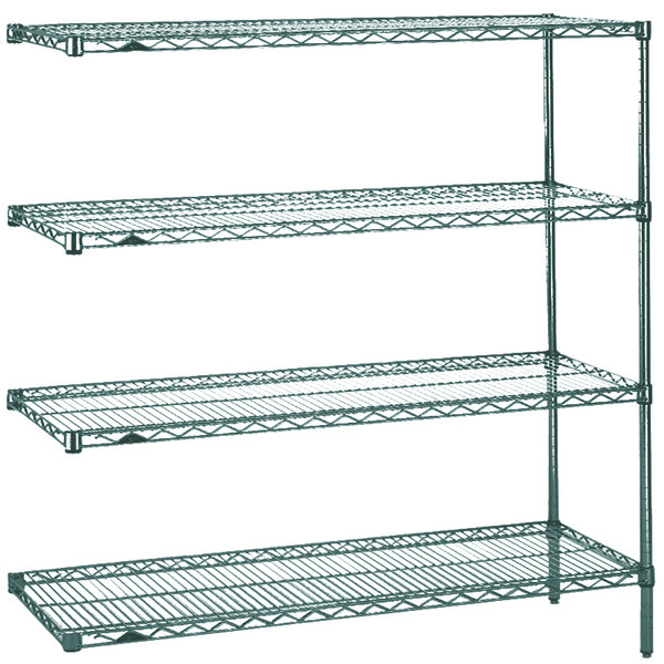 "Metro AN346K3 Super Erecta Metroseal 3 Adjustable Wire Stationary Add-On Shelving Unit - 18"" x 42"" x 63"" Main Image 1"