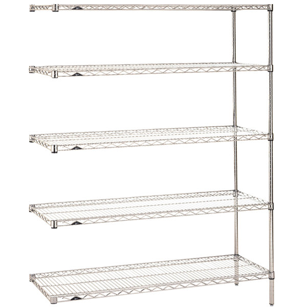 """Metro 5AN347C Super Erecta Adjustable Chrome Wire Stationary Add-On Shelving Unit - 18"""" x 42"""" x 74"""""""