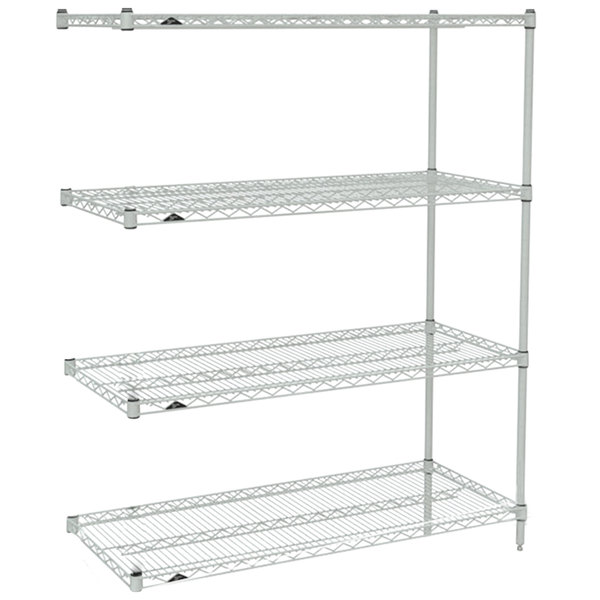 """Metro AN346BR Super Erecta Brite Wire Stationary Add-On Shelving Unit - 18"""" x 42"""" x 63"""""""