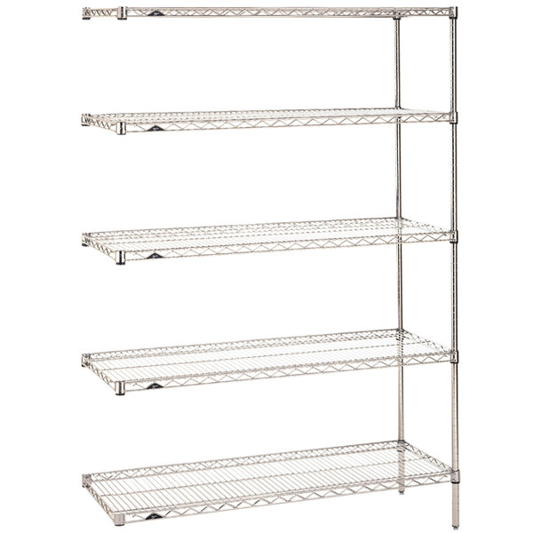 "Metro 5AN527C Super Erecta Adjustable Chrome Wire Stationary Add-On Shelving Unit - 24"" x 30"" x 74"""