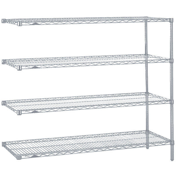 "Metro AN366BR Super Erecta Brite Adjustable Wire Stationary Add-On Shelving Unit - 18"" x 60"" x 63"""