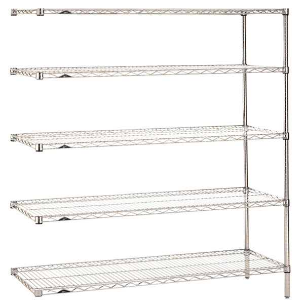 "Metro 5AN567C Super Erecta Adjustable Chrome Wire Stationary Add-On Shelving Unit - 24"" x 60"" x 74"""