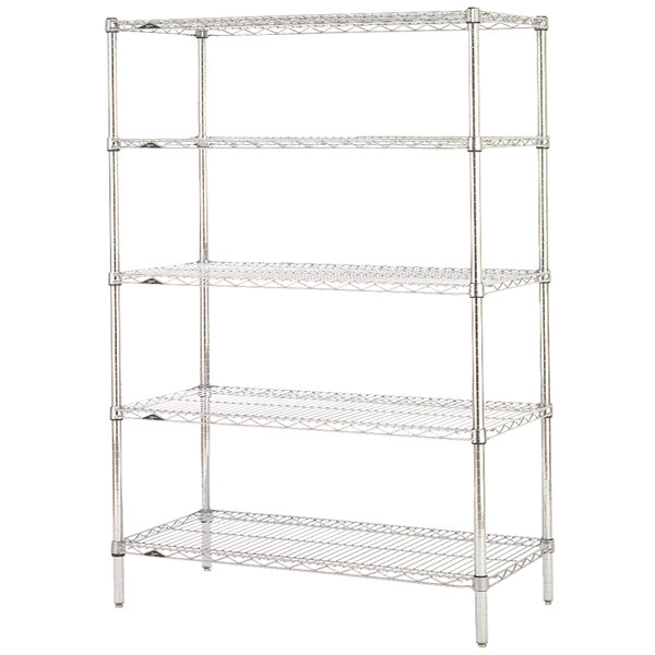 "Metro 5N467C Super Erecta Chrome Wire Stationary Starter Shelving Unit - 21"" x 60"" x 74"" Main Image 1"