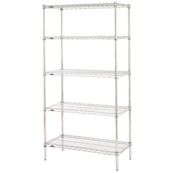 "Metro 5N527C Super Erecta Adjustable Chrome Wire Stationary Starter Shelving Unit - 24"" x 30"" x 74"""