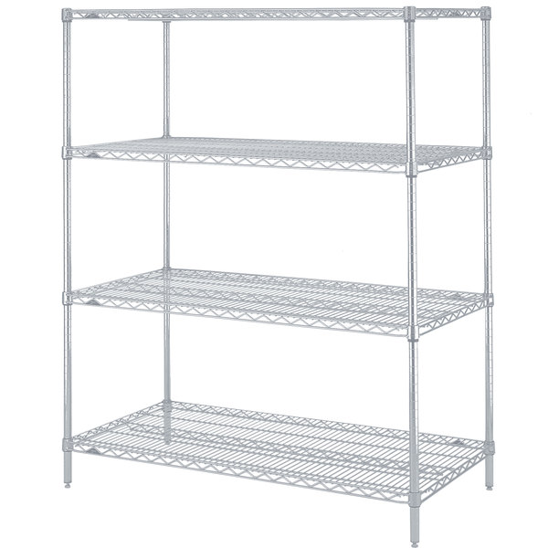 "Metro N326BR Super Erecta Brite Adjustable Wire Stationary Starter Shelving Unit - 18"" x 30"" x 63"""