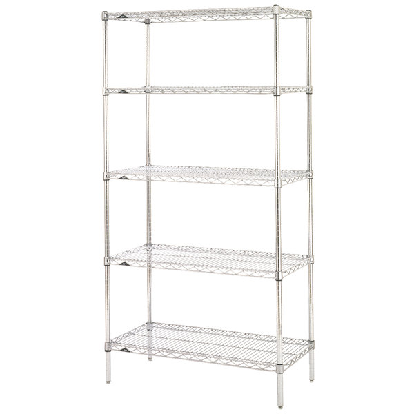 "Metro 5N327C Super Erecta Adjustable Chrome Wire Stationary Starter Shelving Unit - 18"" x 30"" x 74"""