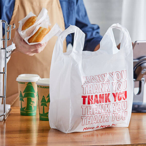 "Choice 1/8 Size .51 Mil White ""Thank You"" Plastic T-Shirt Bag - 1000/Case Main Image 2"