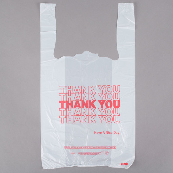 1 8 Size 51 Mil White Thank You Plastic T Shirt Bag 1000 Case
