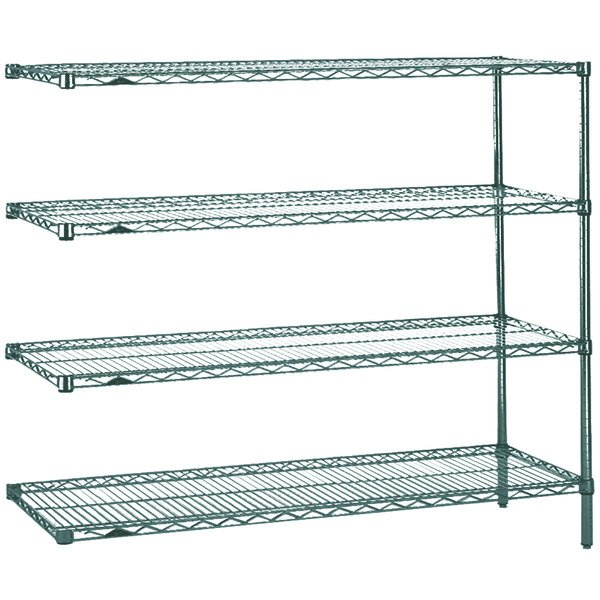 "Metro AN366K3 Super Erecta Metroseal 3 Adjustable Wire Stationary Add-On Shelving Unit - 18"" x 60"" x 63"""