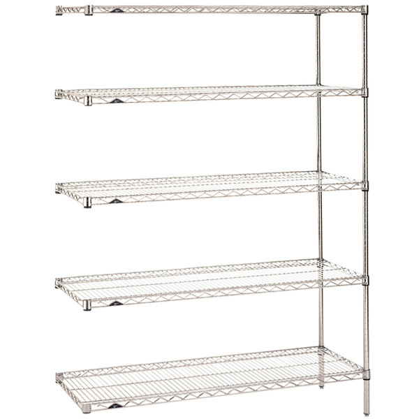 "Metro 5AN437C Super Erecta Adjustable Chrome Wire Stationary Add-On Shelving Unit - 21"" x 36"" x 74"""
