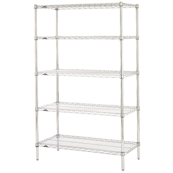 "Metro 5N457C Super Erecta Chrome Wire Stationary Starter Shelving Unit - 21"" x 48"" x 74"""