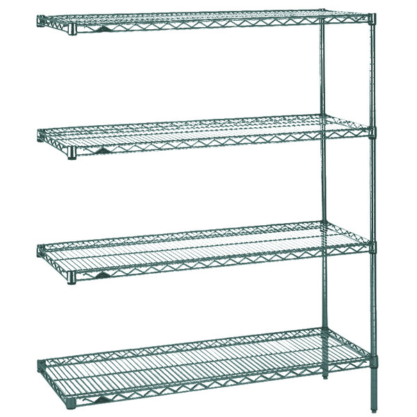 "Metro AN316K3 Super Erecta Metroseal 3 Adjustable Wire Stationary Add-On Shelving Unit - 18"" x 24"" x 63"""