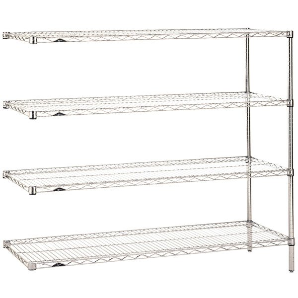 "Metro AN566C Super Erecta Adjustable Chrome Wire Stationary Add-On Shelving Unit - 24"" x 60"" x 63"""