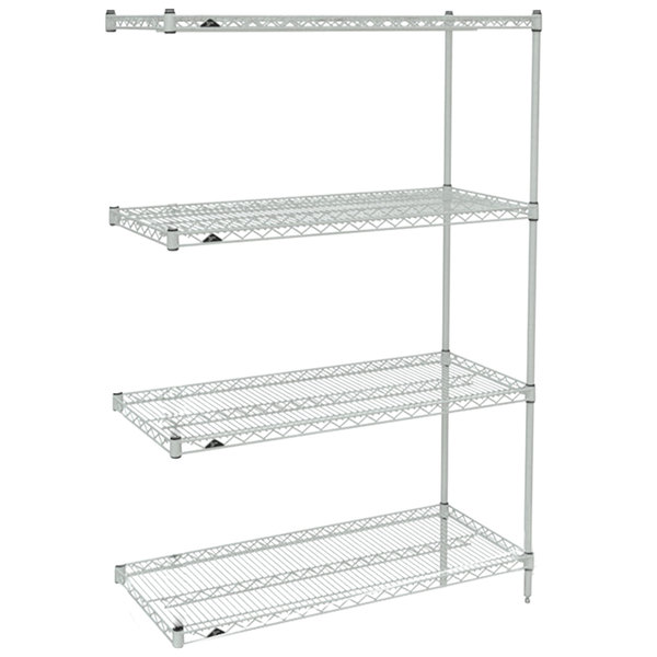 "Metro AN316BR Super Erecta Brite Wire Stationary Add-On Shelving Unit - 18"" x 24"" x 63"" Main Image 1"