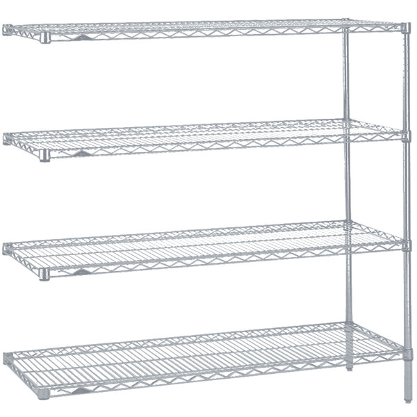 """Metro AN356BR Super Erecta Brite Adjustable Wire Stationary Add-On Shelving Unit - 18"""" x 48"""" x 63"""""""