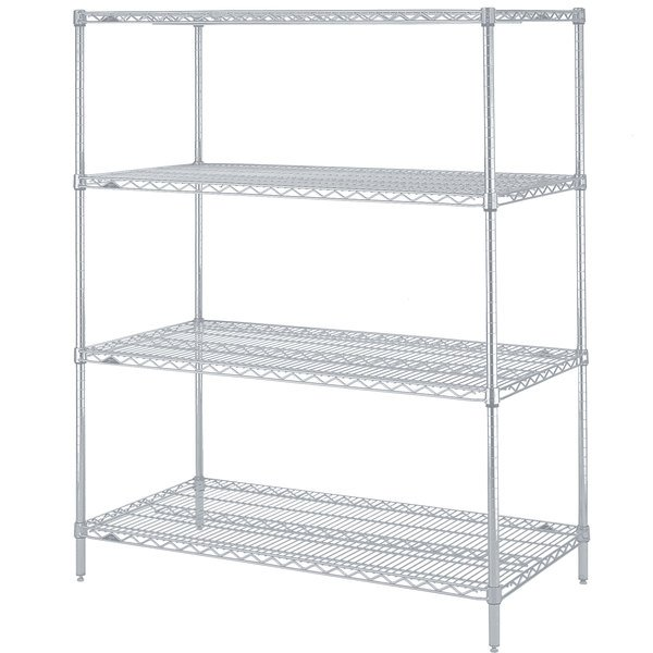 "Metro N426BR Super Erecta Brite Wire Stationary Starter Shelving Unit - 21"" x 30"" x 63"""