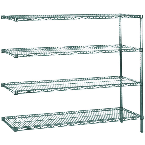 "Metro AN466K3 Super Erecta Metroseal 3 Adjustable Wire Stationary Add-On Shelving Unit - 21"" x 60"" x 63"""