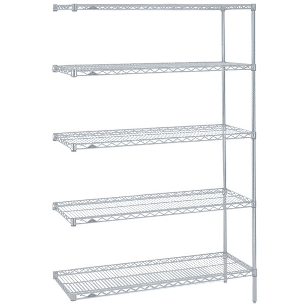 """Metro 5AN317BR Super Erecta Brite Wire Stationary Add-On Shelving Unit - 18"""" x 24"""" x 74"""""""