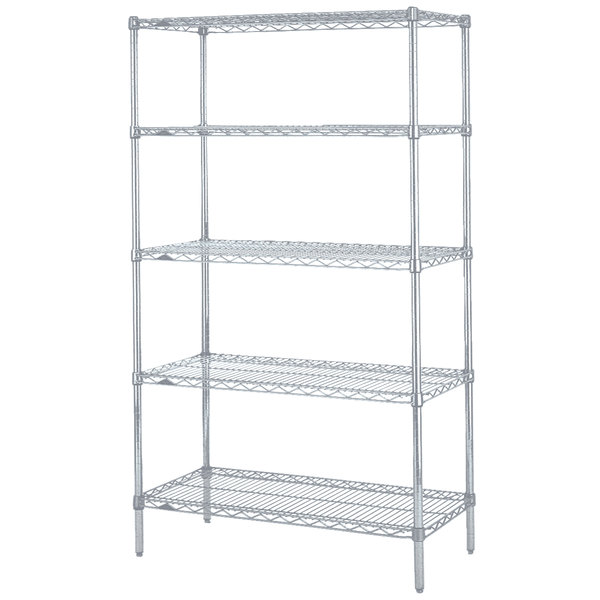"Metro 5N547BR Super Erecta Brite Wire Stationary Starter Shelving Unit - 24"" x 42"" x 74"" Main Image 1"