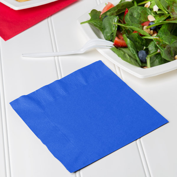 Creative Converting 663147B Cobalt Blue 2-Ply 1/4 Fold Luncheon Napkin - 50/Pack