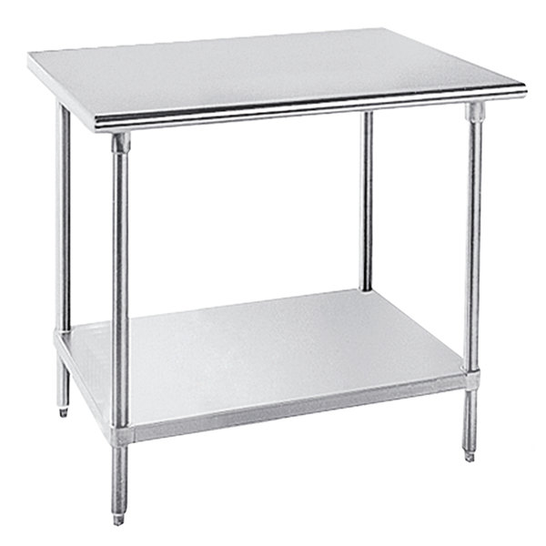 """Advance Tabco MSLAG-364-X Stainless Steel Work Table with Undershelf - 36"""" x 48"""" Main Image 1"""