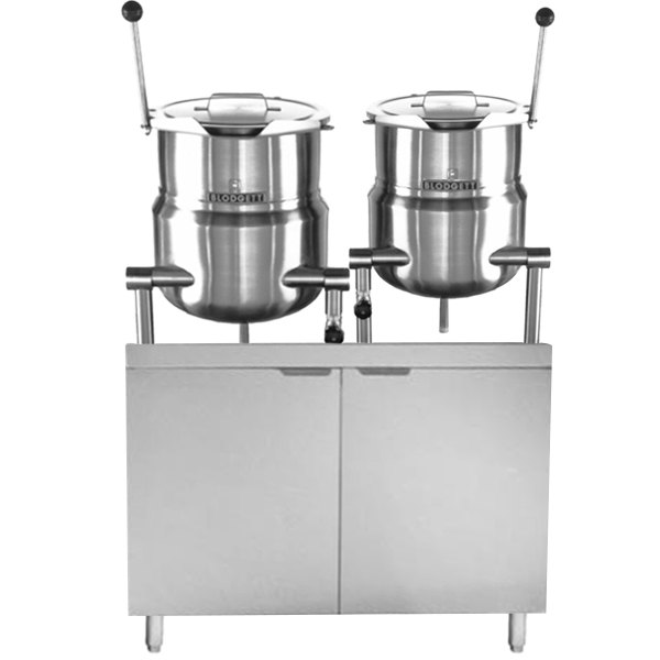 """Blodgett CB42D-10-6K Double 10 Gallon and 6 Gallon Direct Steam Tilting Steam Jacketed Kettle with 42"""" Cabinet Base"""