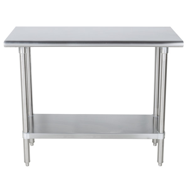 "Advance Tabco SLAG-363-X Stainless Steel Work Table with Stainless Steel Undershelf - 36"" x 36"""