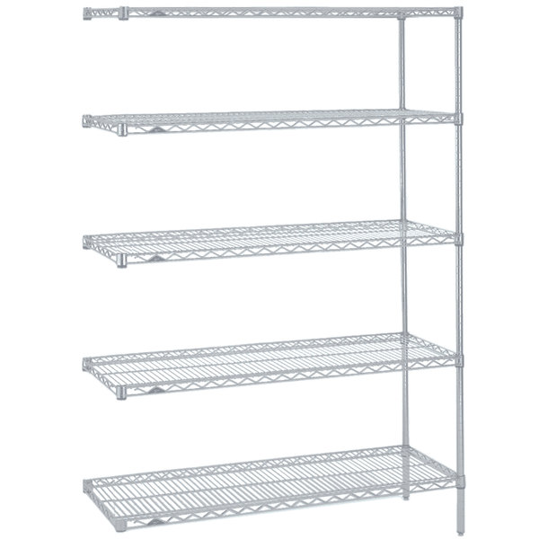 "Metro 5AN527BR Super Erecta Brite Wire Stationary Add-On Shelving Unit - 24"" x 30"" x 74"""