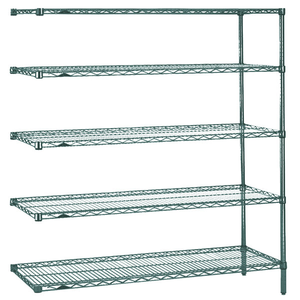 "Metro 5AN367K3 Super Erecta Metroseal 3 Adjustable Wire Stationary Add-On Shelving Unit - 18"" x 60"" x 74"""