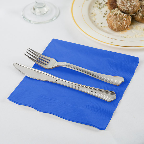 Creative Converting 583147B Cobalt Blue 3-Ply 1/4 Fold Luncheon Napkin - 50/Pack