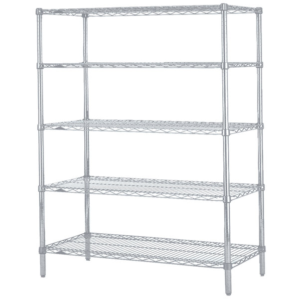 "Metro 5N477BR Super Erecta Brite Wire Stationary Starter Shelving Unit - 21"" x 72"" x 74"""